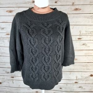 Talbots sweater cable fisherman style charcoal XP